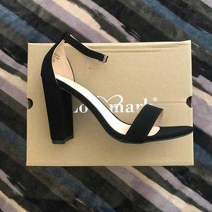 Evening wear suede block heel